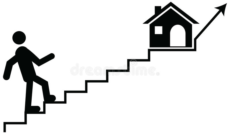 Vector concept of a man or guardian climbing on stairs with their dream home. stock images