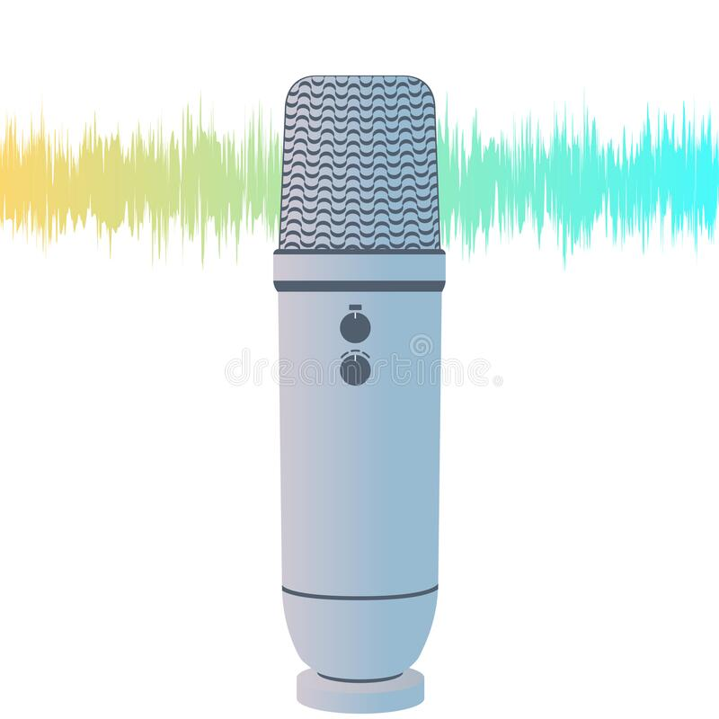 Concept of microphone for ASMR. Microphone for blogger to make massage, whisper, rustling. Autonomous sensory meridian. Vector concept of microphone for ASMR royalty free illustration