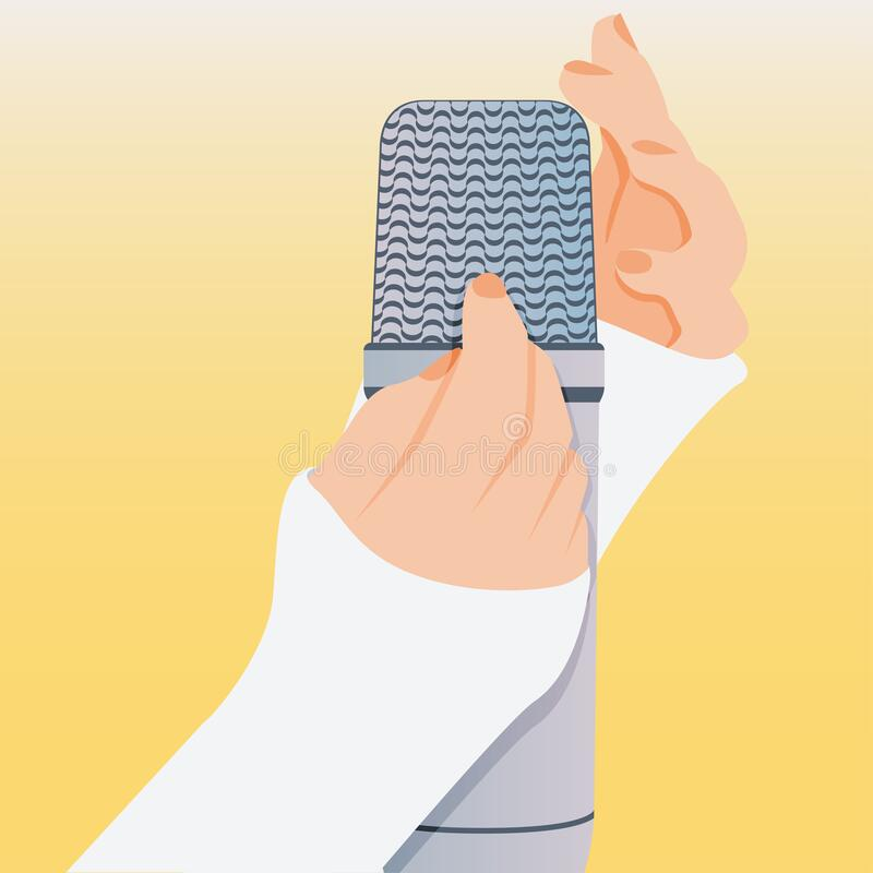 Concept of microphone for ASMR. Microphone with hands make massage, whisper, rustling. Autonomous sensory meridian. Vector concept of microphone for ASMR vector illustration