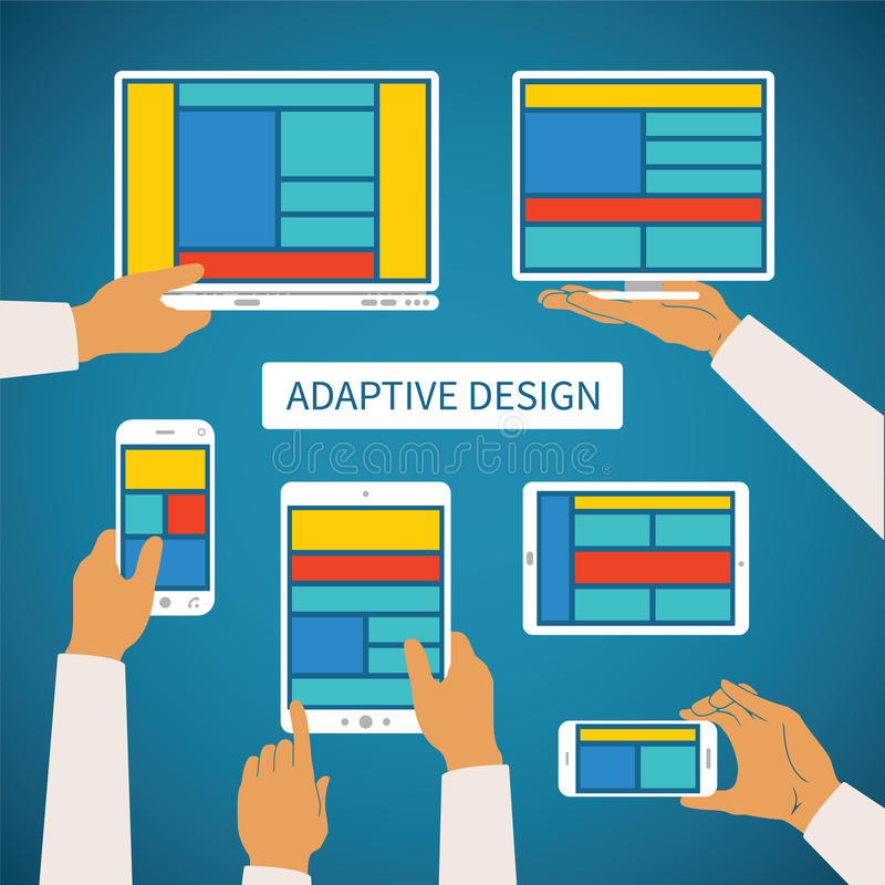 Vector concept of modern adaptive responsive web and application design stock illustration