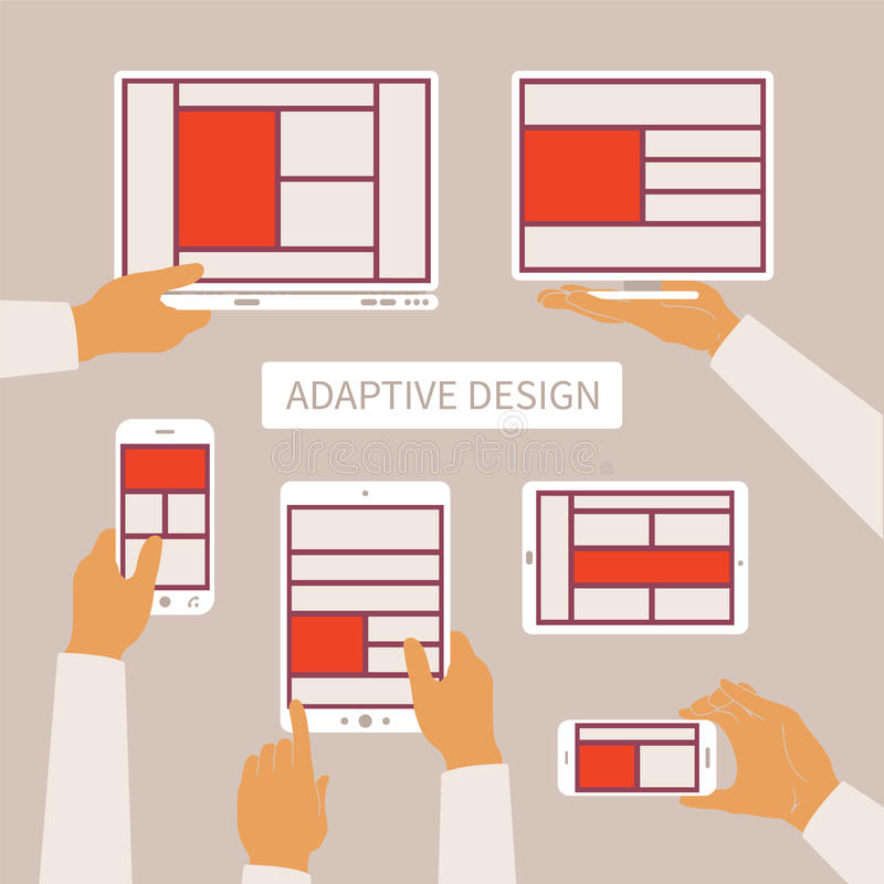 Vector concept of modern adaptive responsive web and application design.  vector illustration