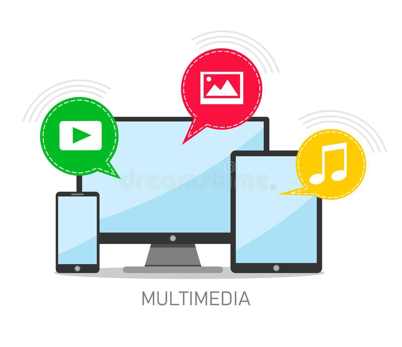 Vector concept of multimedia files and multimedia communication. Vector illustration on white background. royalty free illustration
