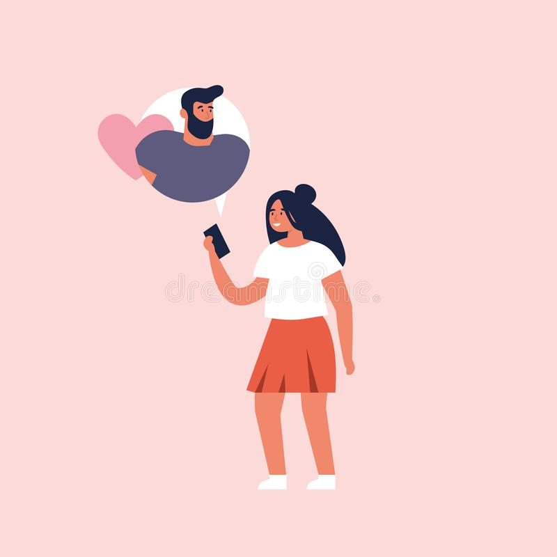 Vector concept on online dating application, flat design. Young girl holding mobile device and chatting with her vector illustration
