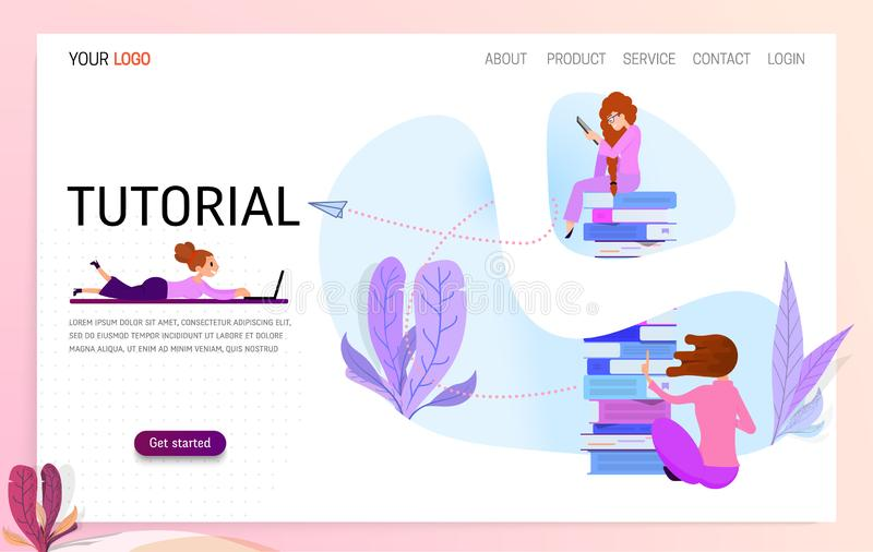 Vector concept for online education. Flat 2D design. Online training courses, retraining, specialization, tutorials. Can royalty free illustration