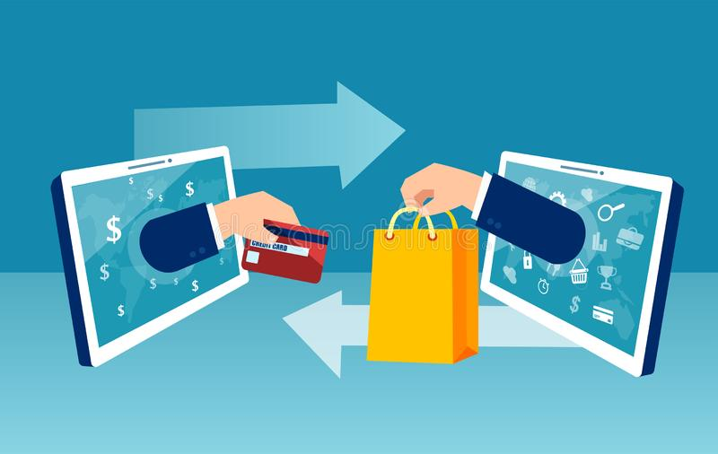 Vector concept online shopping at home. Using tablet computer paying with credit card royalty free illustration