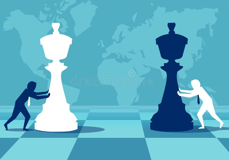 Men building strategy playing chess stock illustration
