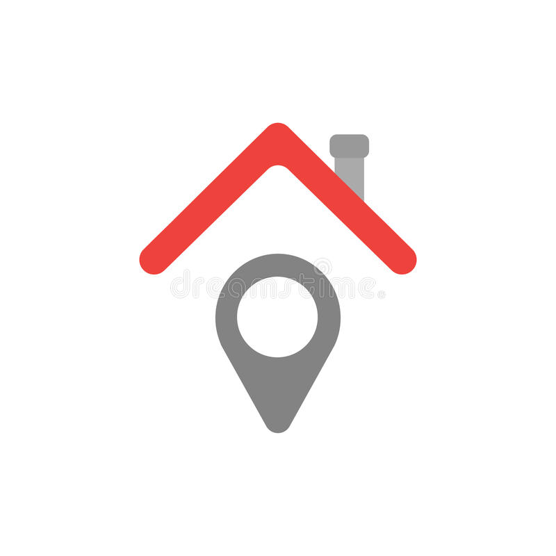 Vector concept of pointer under house roof icon on white with fl vector illustration