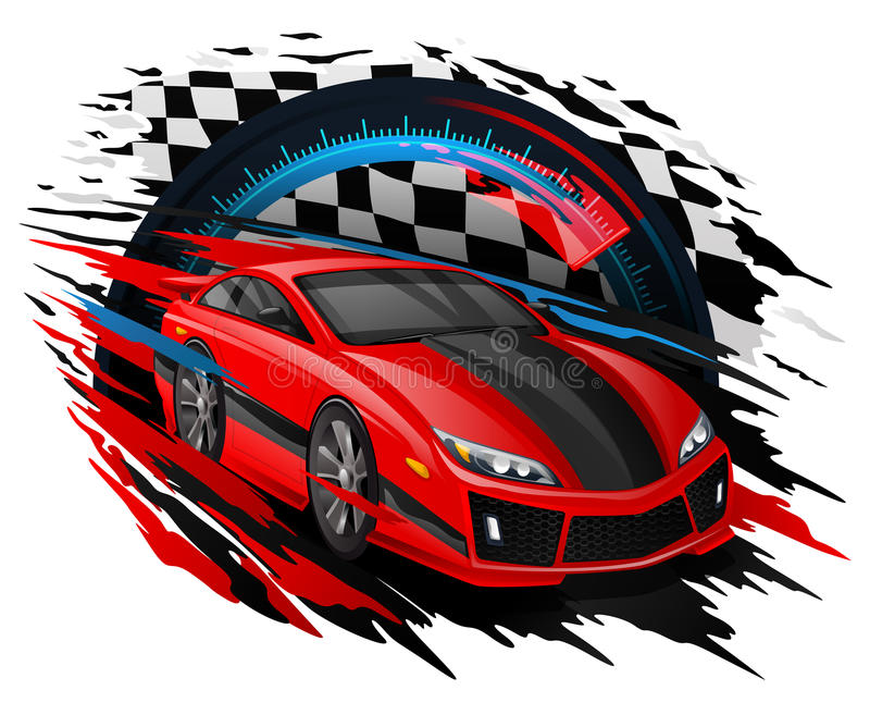 Vector Concept of Racing Car set against a Speedometer & Checkered flag royalty free illustration