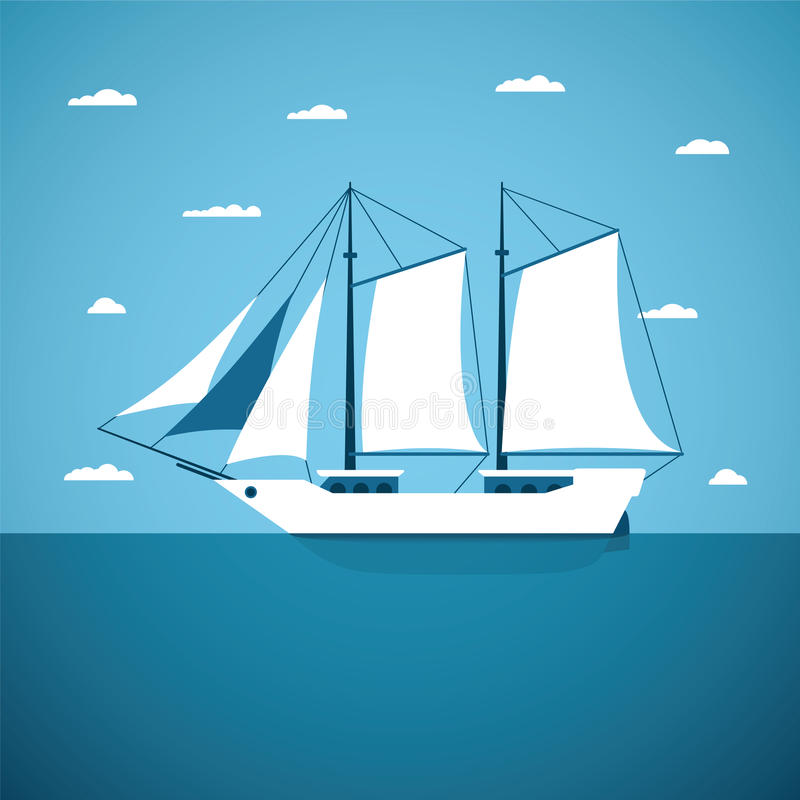 Vector concept of river ocean and sea sailing boat royalty free illustration