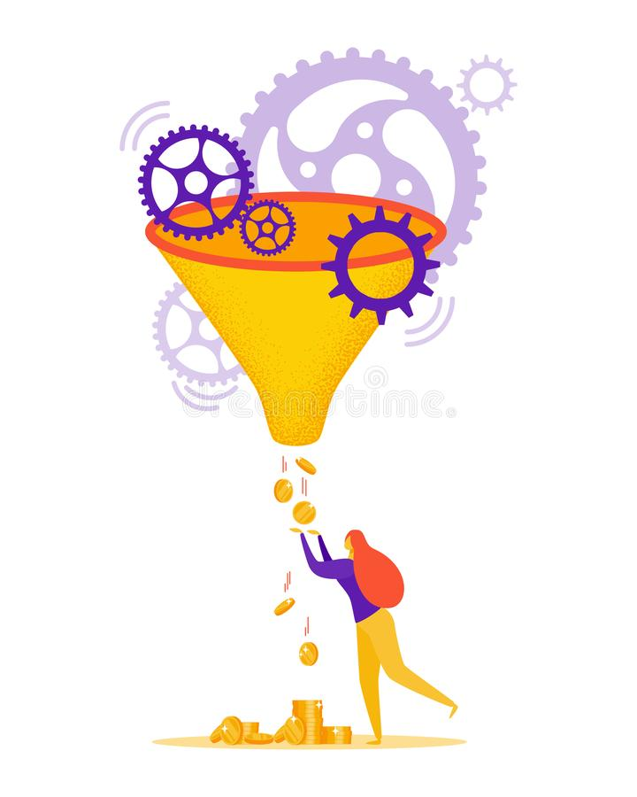 Vector concept of sales funnel. Girl catches coins from the funnel in flat style vector illustration