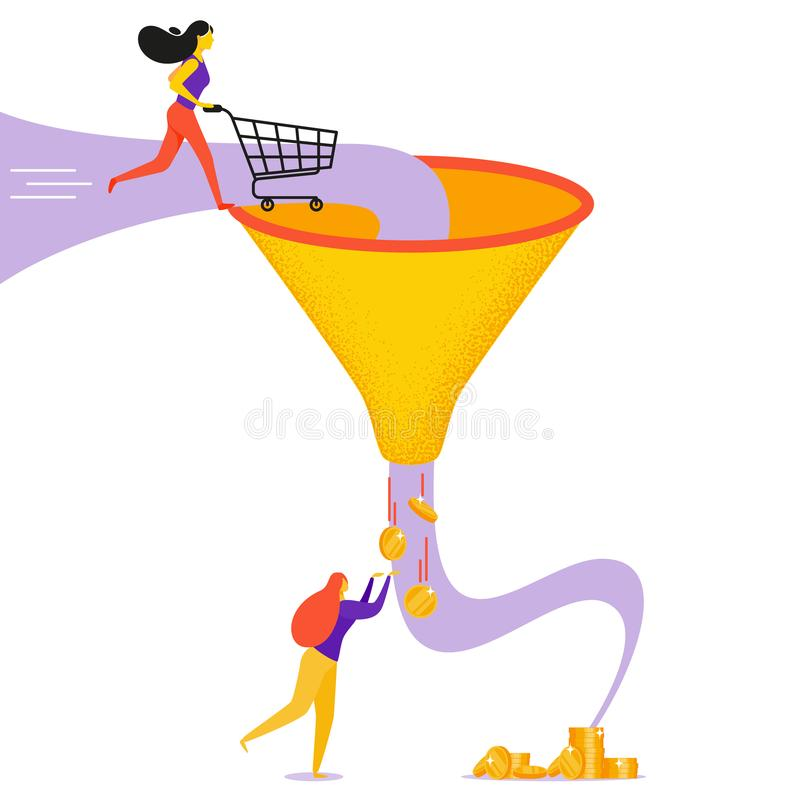 Vector concept of sales funnel. Girl catches coins from the funnel in flat style stock illustration