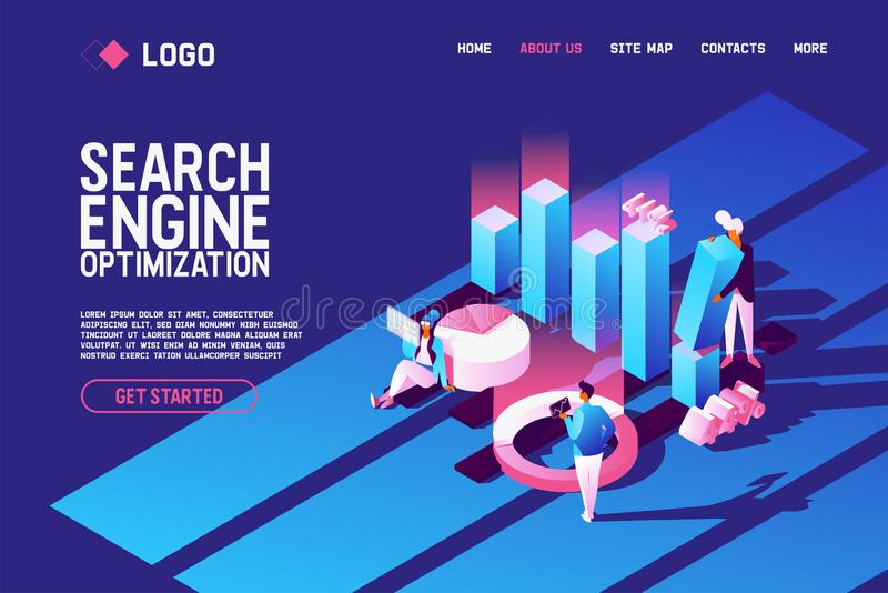 Vector concept with search engine optimisation scene. Abstract graphs and diagrams, people working with seo. Horizontal. Vector concept with search engine vector illustration
