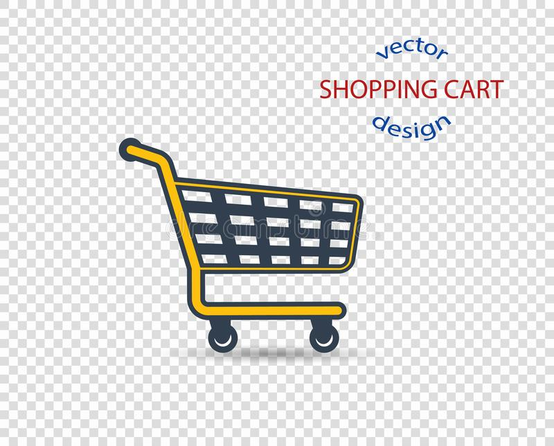 Vector concept shopping cart with shadow, icon, flat style. The design element is isolated on a transparent background vector illustration