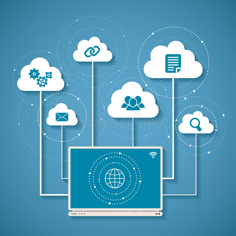 Vector concept of wireless cloud network and distributed computing vector illustration
