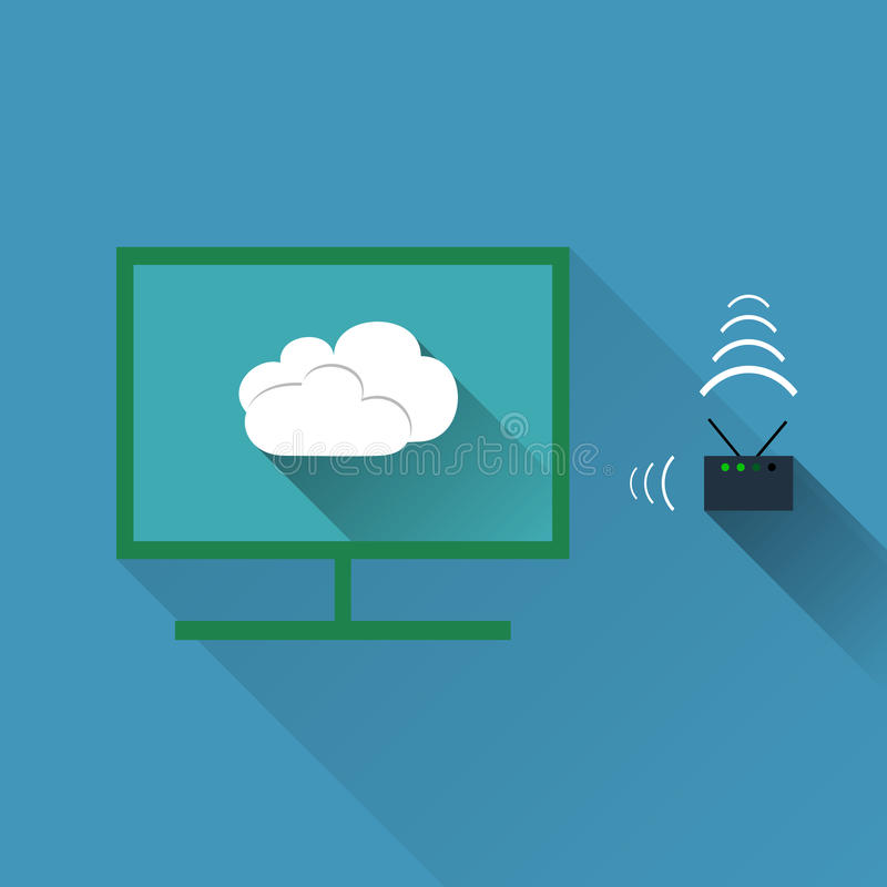 Vector concept of wireless cloud network stock illustration