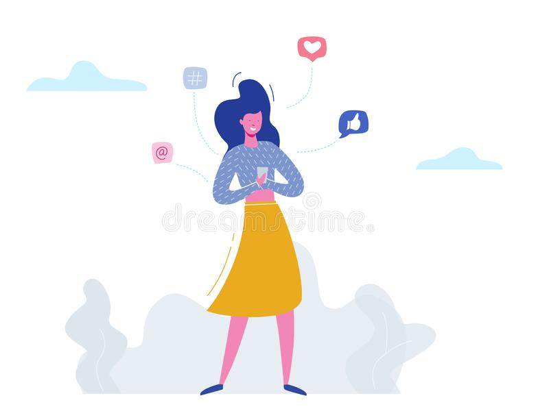 Vector concept woman character chatting on phone in social media, network bubbles. Illustration design for web banner, marketing vector illustration