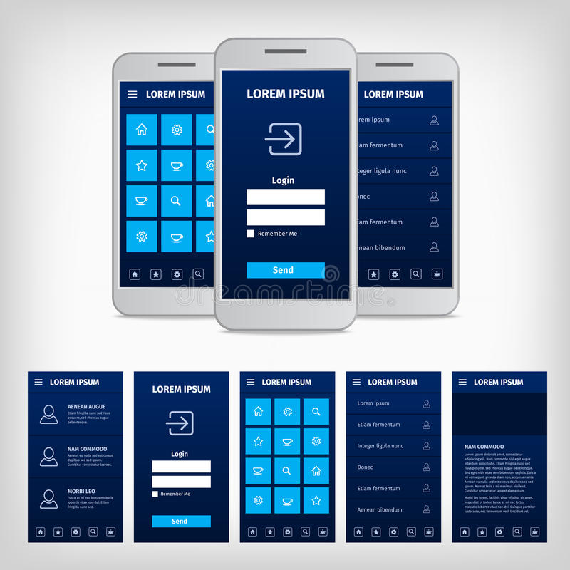 Vector conception of blue mobile user interface. Vector collection of modern flat design. Conception of mobile user interface. EPS10 illustration. Mobile app ui royalty free illustration