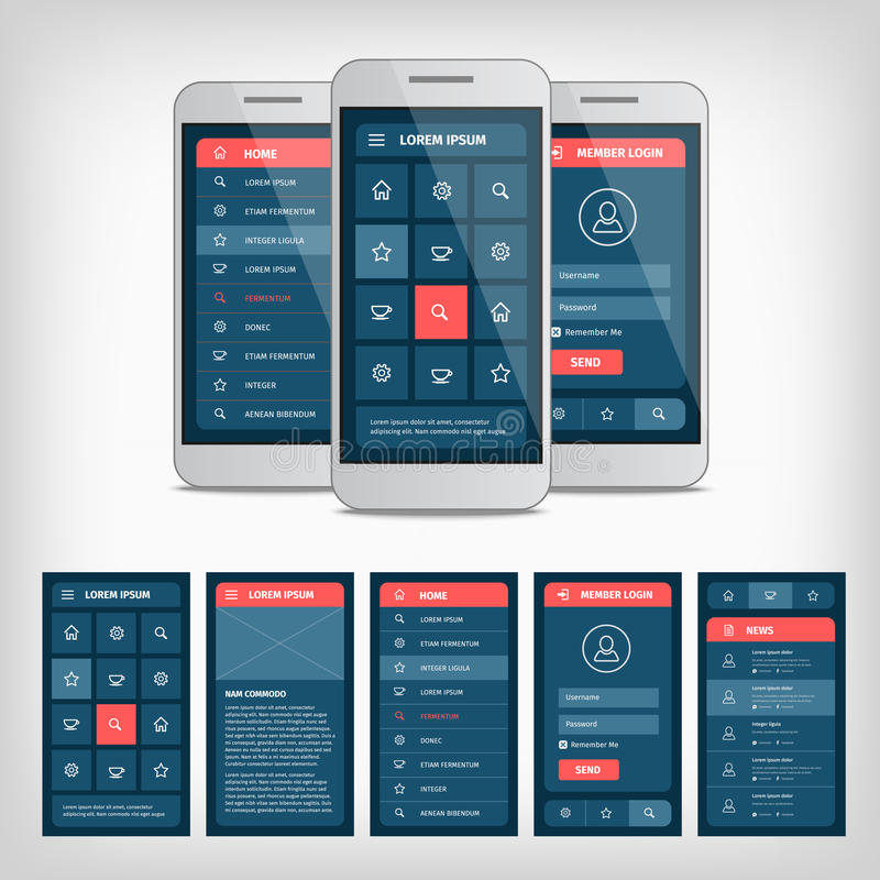 Vector conception of mobile user interface. Vector collection of modern flat design. Conception of mobile user interface. EPS10 illustration. Mobile app ui kit vector illustration