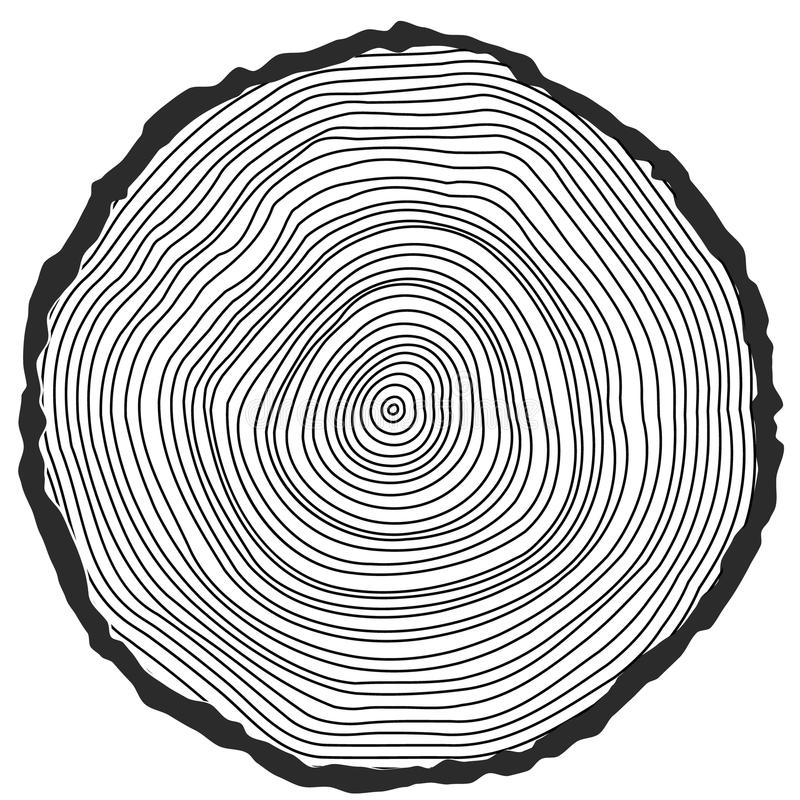 Vector conceptual background with tree-rings. Tree cut Stump Snag royalty free illustration