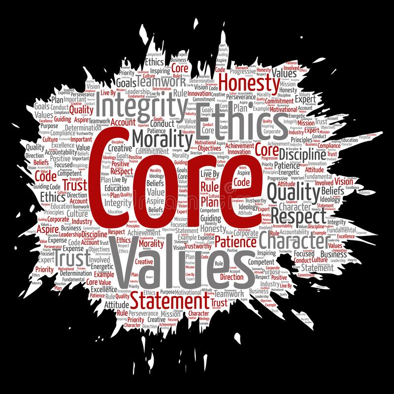 Vector core values integrity ethics. Vector conceptual core values integrity ethics paint brush paper concept word cloud isolated background. Collage of honesty stock illustration