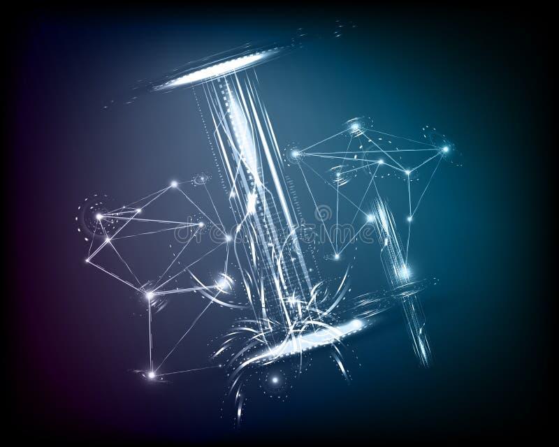 Vector conceptual de la galaxia del espacio de la tecnología del fondo stock de ilustración