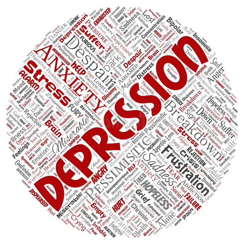Vector depression or mental emotional disorder problem. Vector conceptual depression or mental emotional disorder problem round circle red word cloud isolated vector illustration