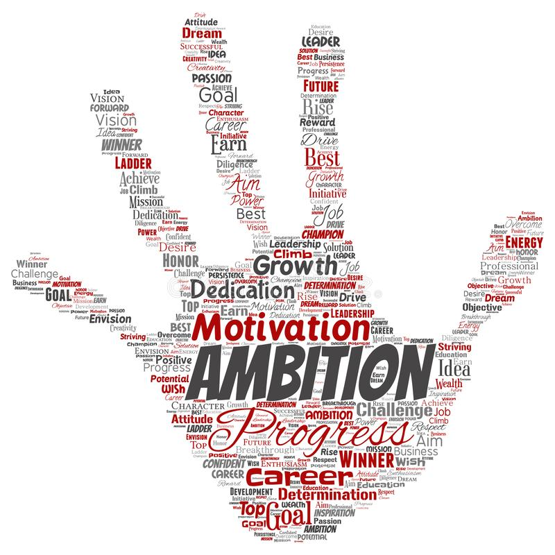 Vector leadership ambition or motivation word cloud royalty free illustration