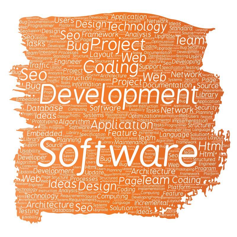 Vector conceptual software development project coding technology paint brush word cloud isolated background. Collage of applicatio stock illustration