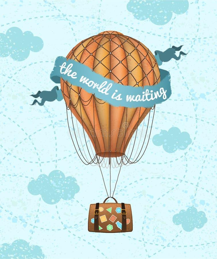Vector conceptuele kunst van hete luchtballon met bagage Concept reis rond de wereld De uitdrukking ` de wereld wacht ` stock illustratie