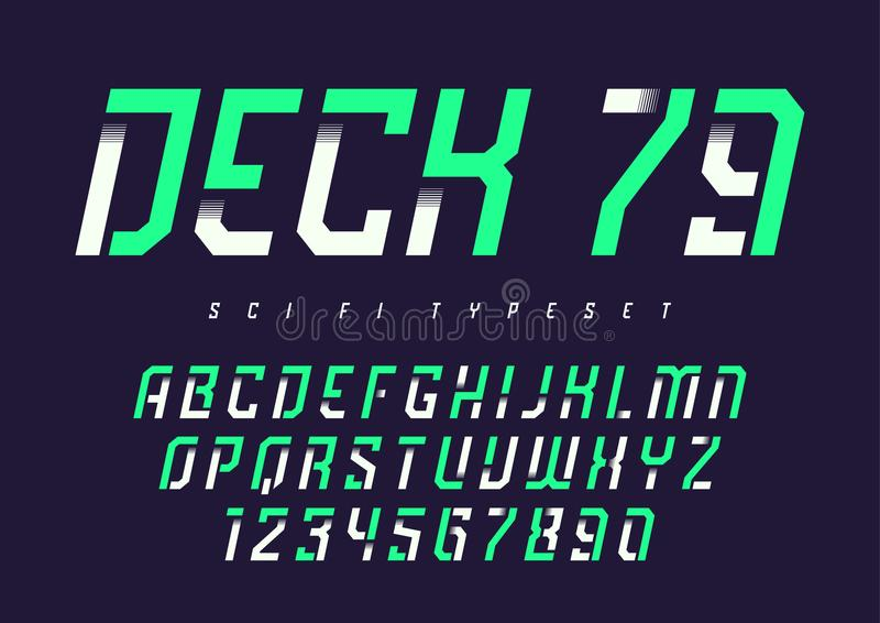 Vector condensed retro display font design, alphabet, character stock illustration