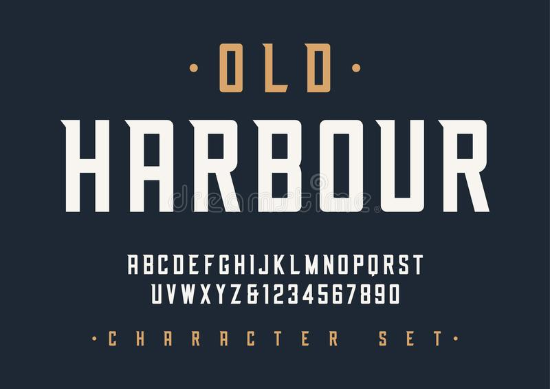 Vector condensed retro display font design, alphabet, character royalty free illustration