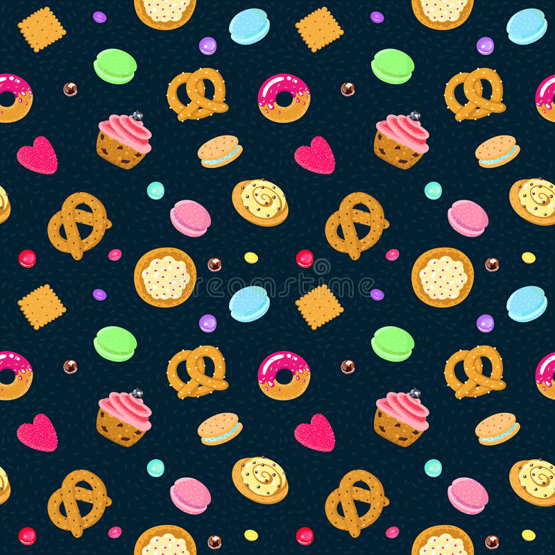 Vector confection and sweets seamless pattern with pastries, candies, pretzels and muffin. (on a dark blue background vector illustration