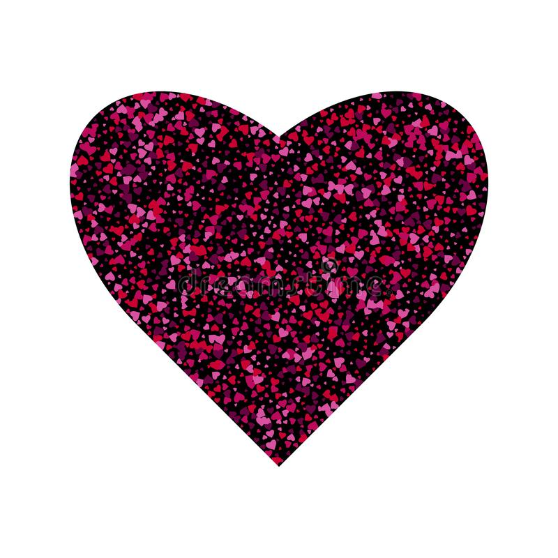Vector confetti splash in the shape of a heart. Valentines Day background congratulation card. Heart shape of a lot of small stock illustration