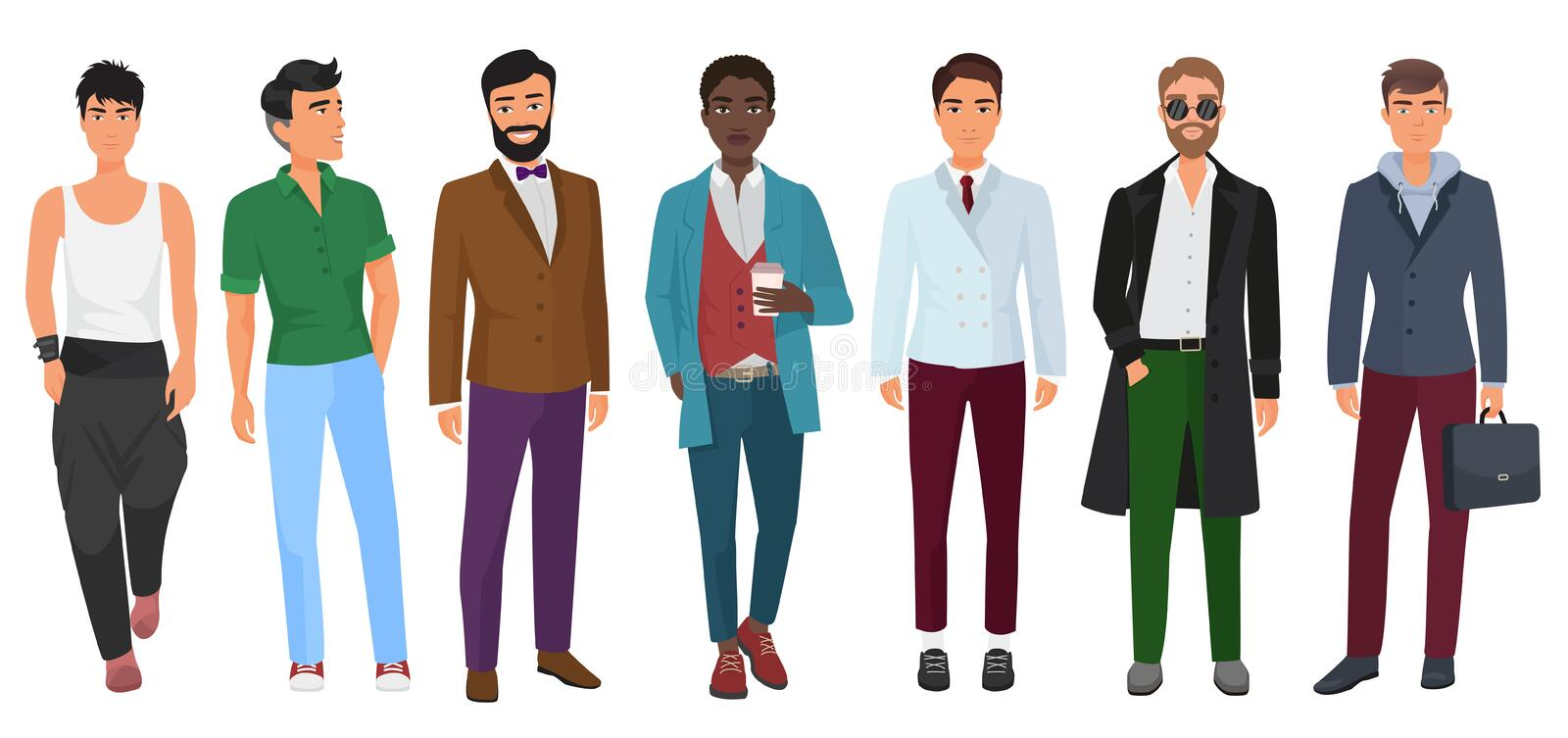 Vector confident fashion man in casual clothes isolated on white background. Young modern guys. vector illustration