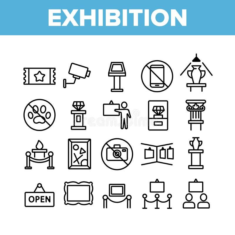 Vector Conjunto De Iconos De La Exposición Y Colección De Museos ilustración del vector