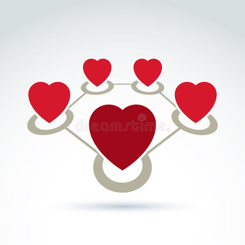 Vector Connected Loving Hearts Place In A Circles Stock Vector