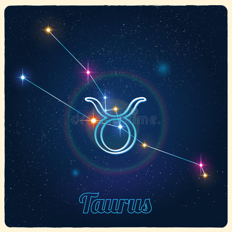 Vector constellation Taurus with the Zodiac sign royalty free illustration