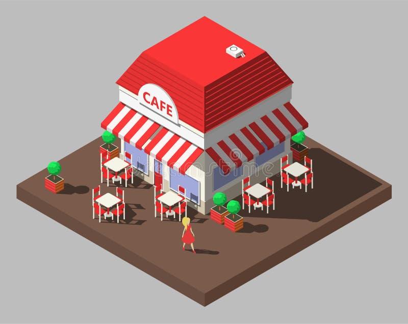 Vector a construção isométrica do café do restaurante com tabelas e cadeiras ilustração do vetor