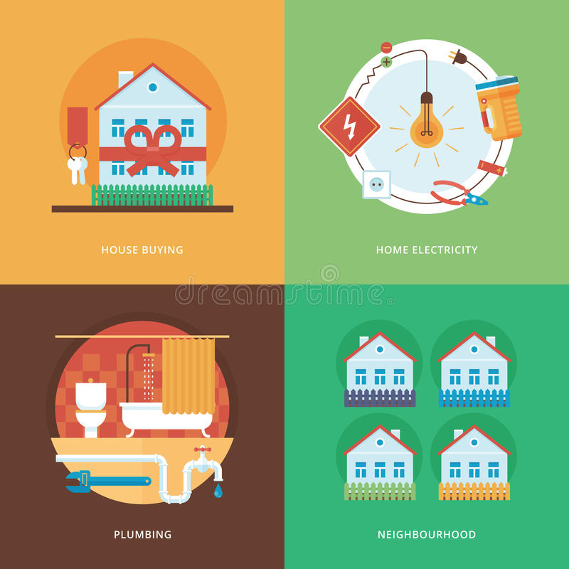 Vector constructing, industry of building and development set for web design and mobile apps. Illustration for house buying, home stock illustration