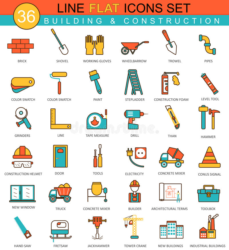 Vector Construction and building tools flat line icon set. Modern elegant style design for web. Vector Construction and building tools flat line icon set royalty free illustration