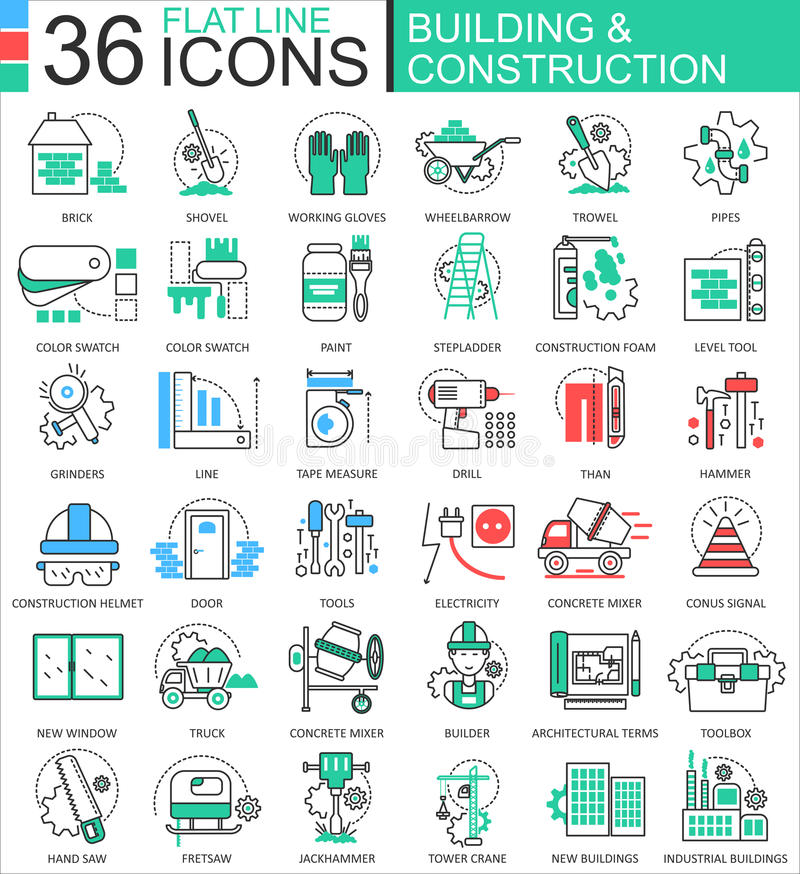 Vector Construction and building tools modern color flat line outline icons for apps and web design. vector illustration