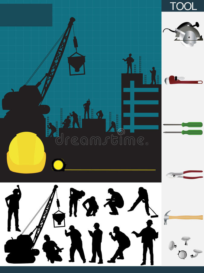 Vector construction containing of tools stock illustration