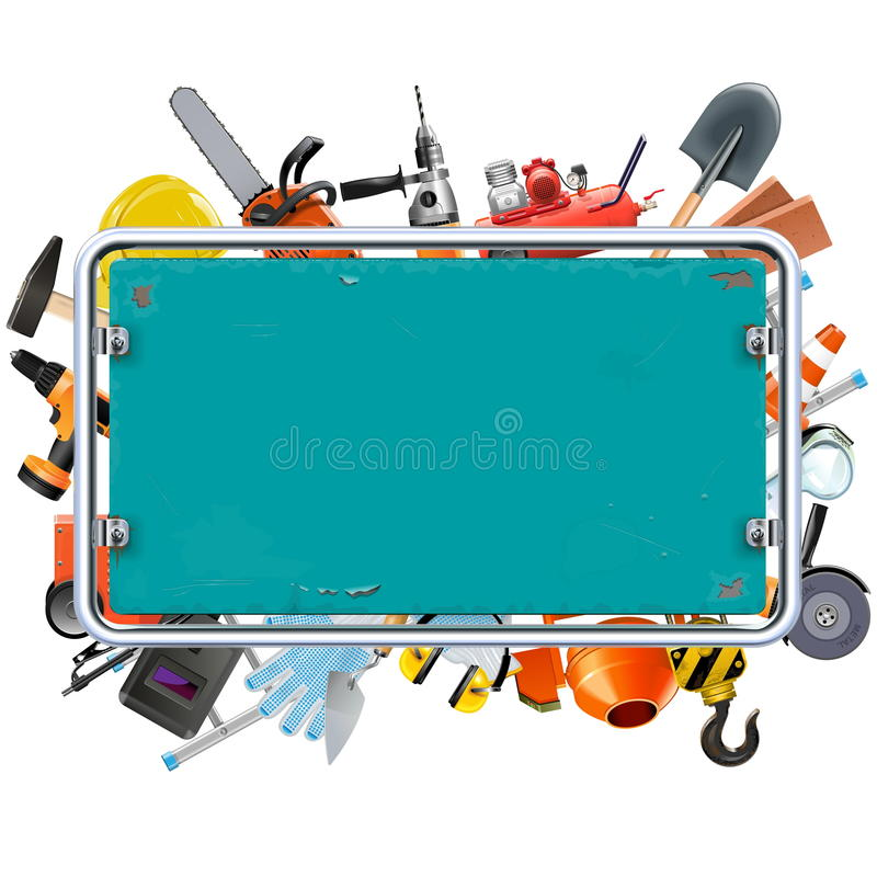 Vector Construction Rusty Frame with Tools stock illustration