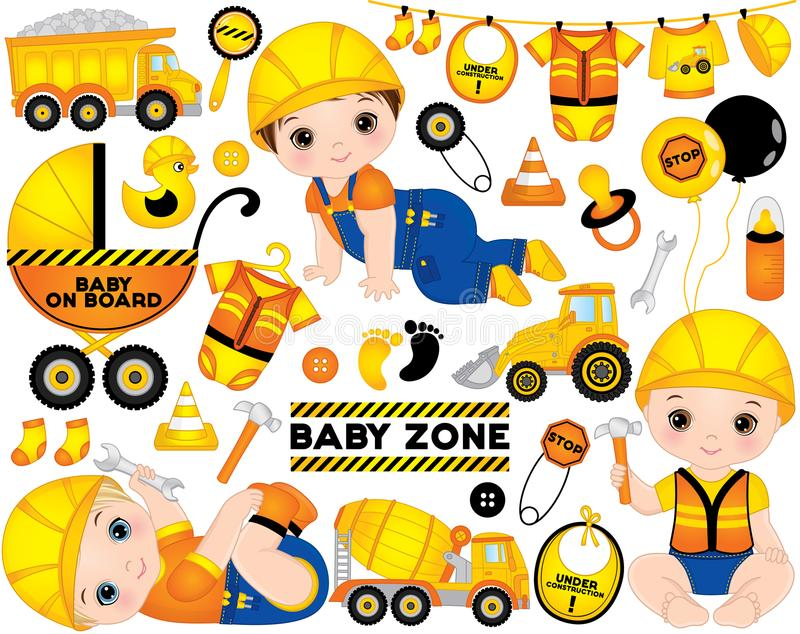 Vector Set with Cute Boys Dressed as Little Builders, Construction Transport and Accessories. Vector construction set. Set includes cute baby boys dressed as stock illustration