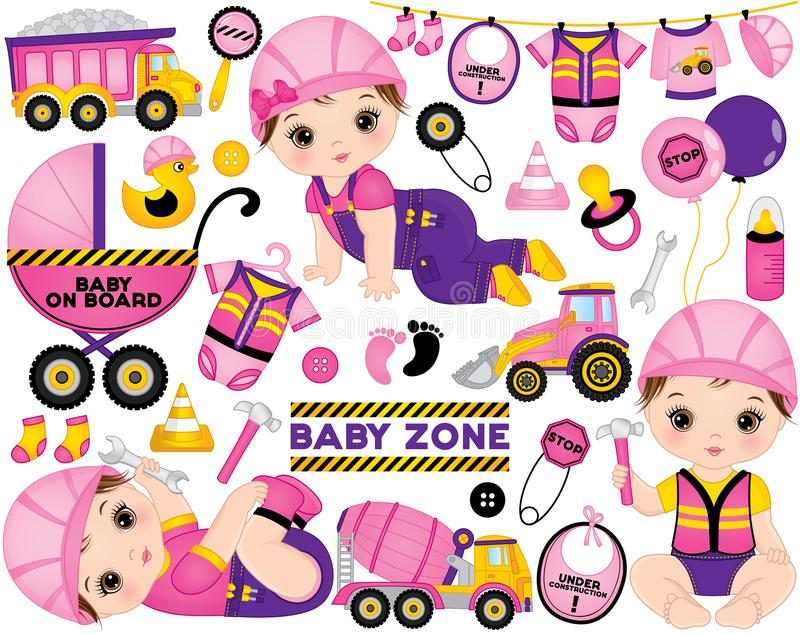 Vector Set with Cute Little Baby Girls Dressed as Little Builders and Construction Transport vector illustration
