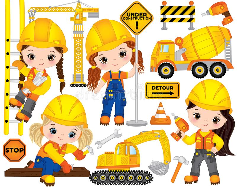 Vector Construction Set with Little Girls, Transport and Various Tools. Vector construction set with cute little girls at work, tools, construction transport and stock illustration