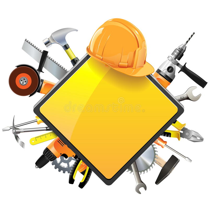 Vector Construction Sign with Tools stock illustration