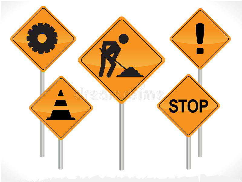 Vector Construction Signs. Portraying different concepts vector illustration
