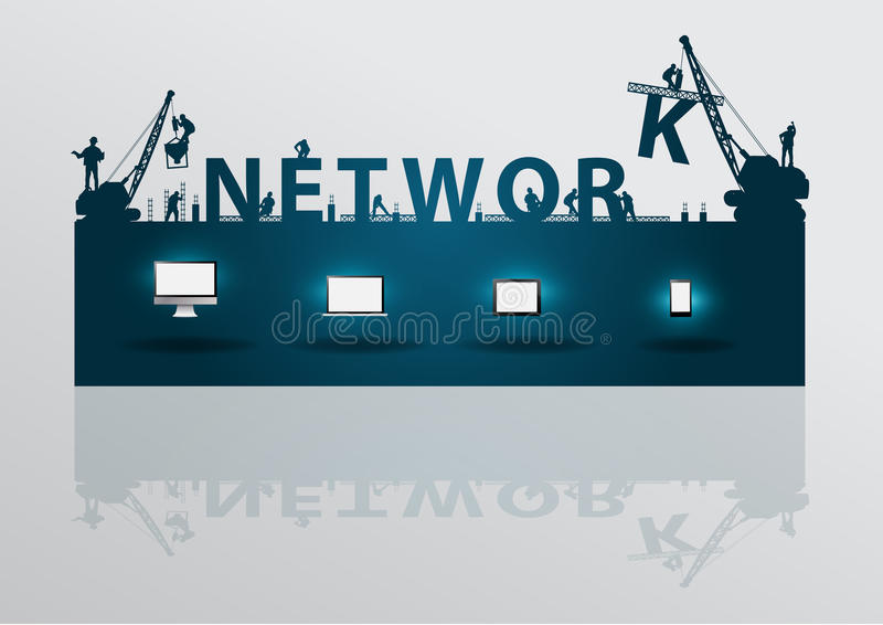 Vector construction site crane building network te