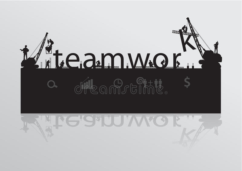 Vector construction site crane building teamwork t stock illustration